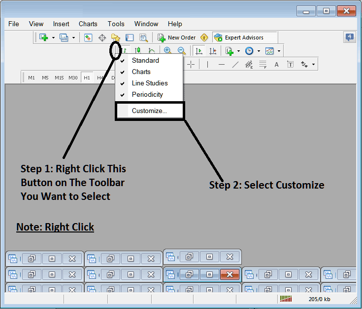 How To Customize and Add Tools on The Line Studies Toolbar in MetaTrader 4