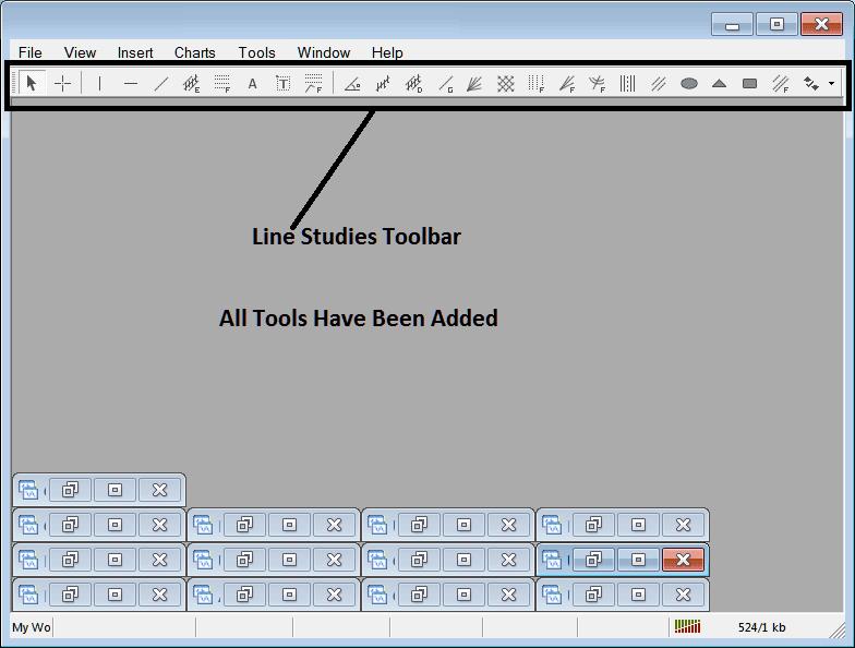 All Tools on Line Studies Toolbar in The MT4 Platform