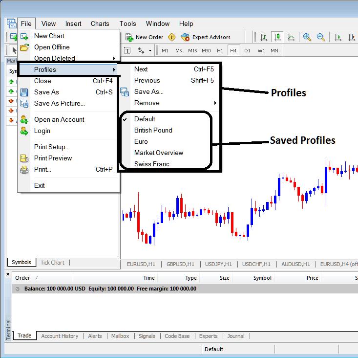Saving a Profile in MT4 Platform