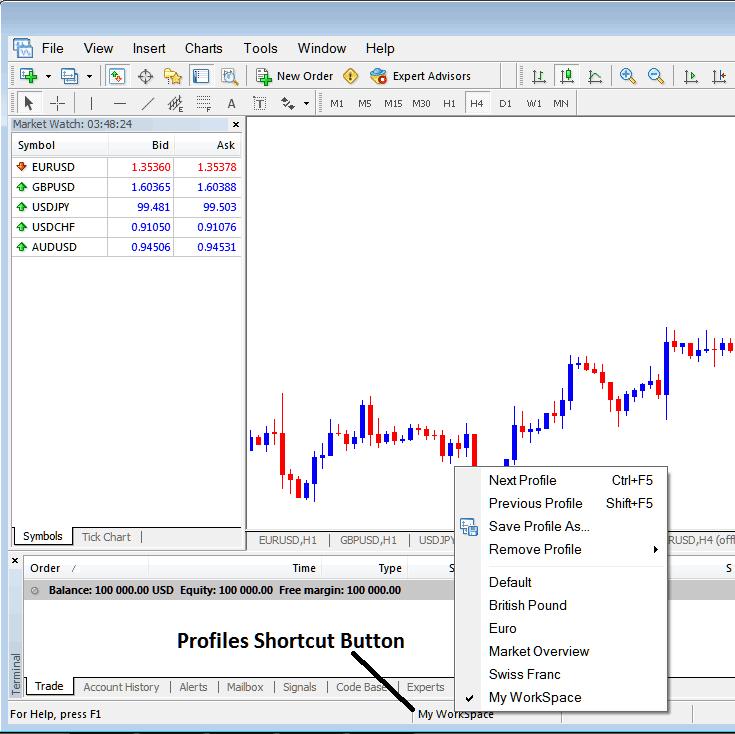 Profile Short Cut Button on MT4 Platform