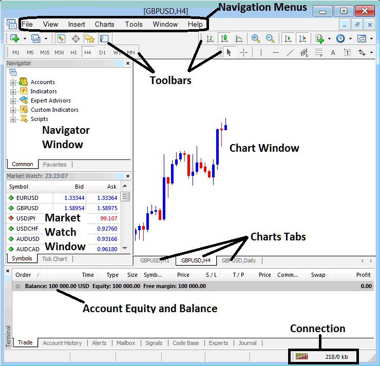 MetaTrader 4 Charts Tab on MetaTrader 4 Platform Software -Indices Trading MT4 Live Chart