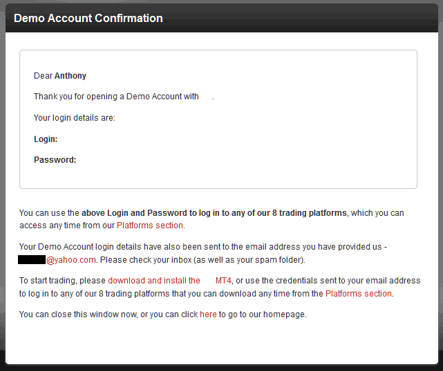 Demo Account Registration Confirmation From Indices Trading Broker - MT4 Demo Account Sign up