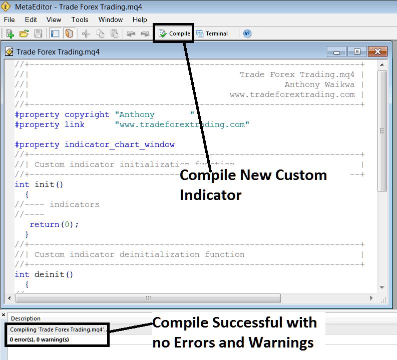 Compile a New Custom Indicator on MT4 MetaEditor - MetaTrader 4 Custom Indicators Menu List