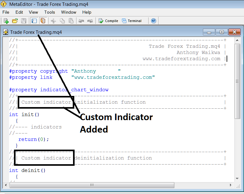 Adding Custom Stock Index Trading Indicator on MetaTrader 4 MetaEditor Programming Environment - Indices MT4 Custom Indicators