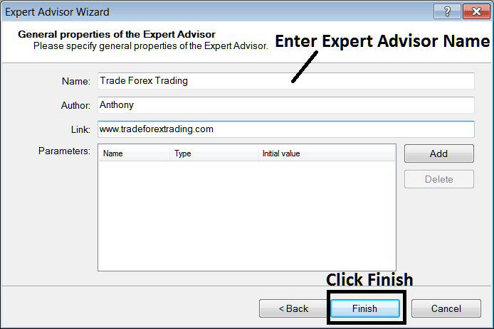 Enter Name of New Expert Advisor Before Adding it to MT4 Platform