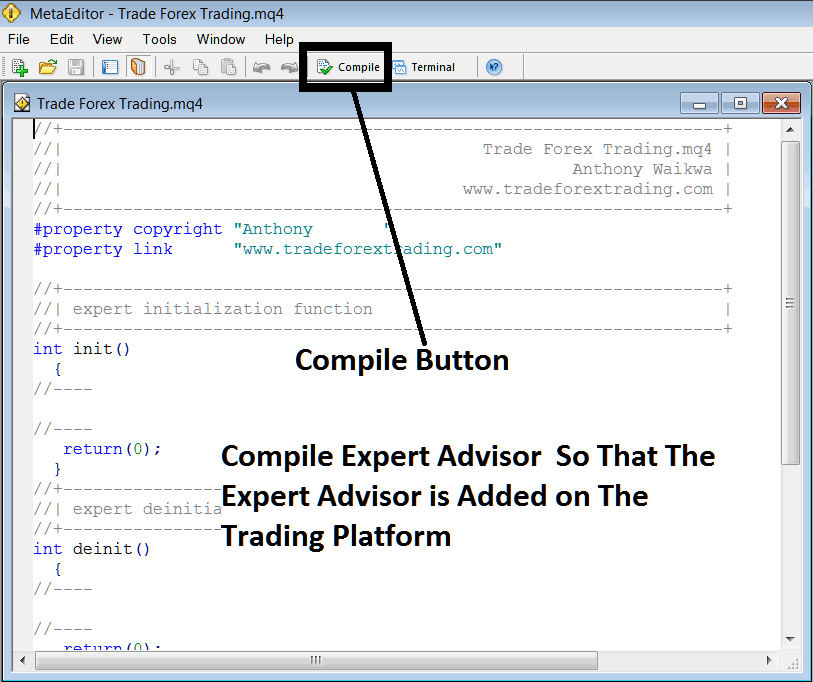 Compile The Expert Advisor Program on MT4 MetaEditor Language
