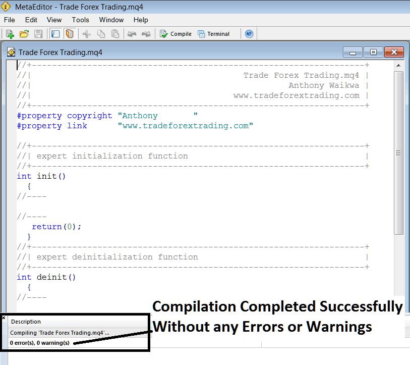 MetaEditor Programming Adding An Expert Advisor on MT4 Platform