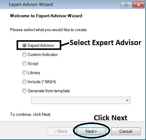 Window for Adding New Expert Advisor on MT4 Platform