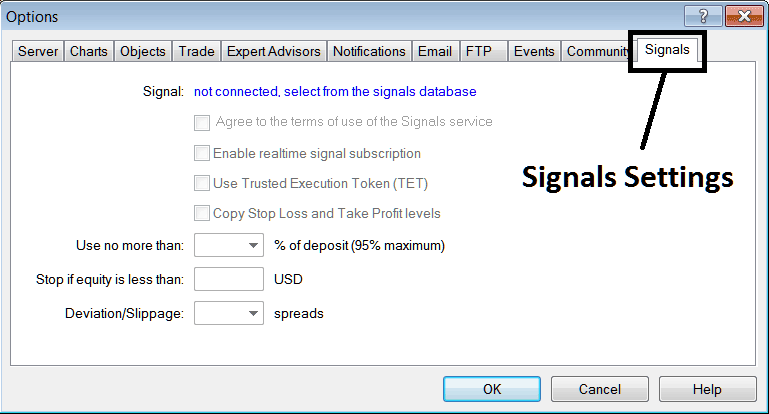 Signal Settings – How to Setup MQL5 Indices Signals on MT4 Platform