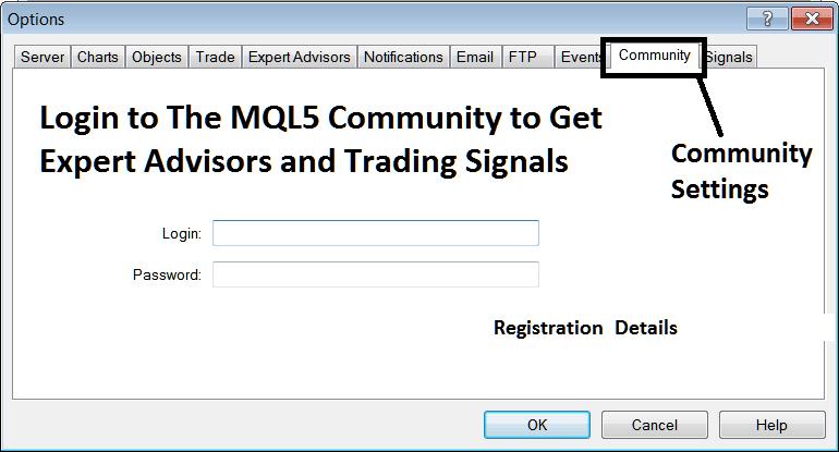 MQL5 Community Login From The MT4 Platform