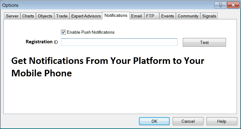 Notifications Settings For Mobile Phone on MT4 Platform