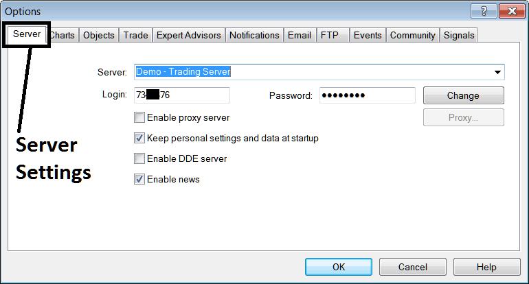 Server Settings Option in MT4 Platform