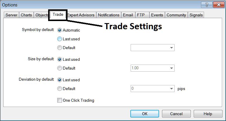Trade Settings Option on MT4 Platform