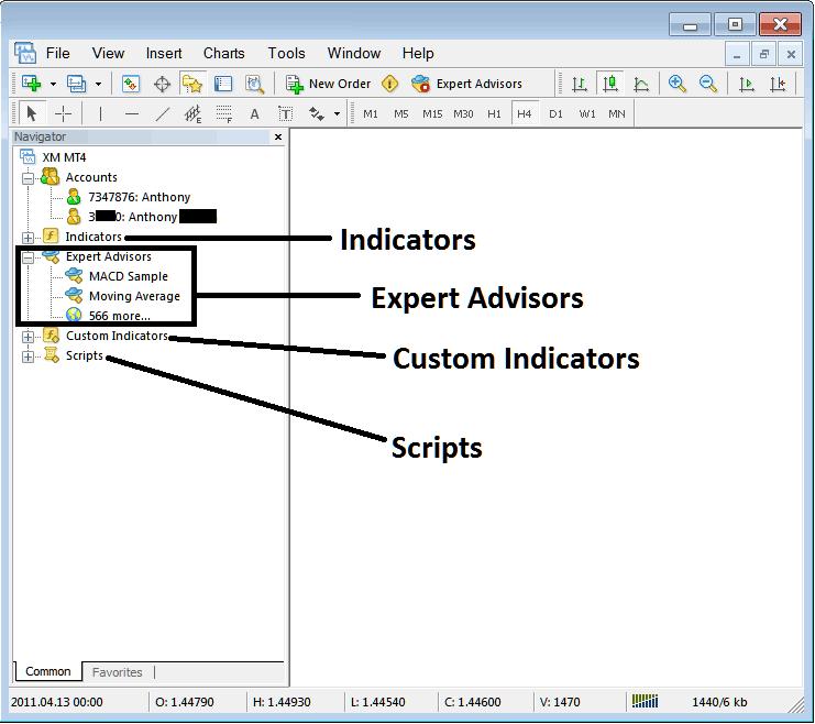 Expert Advisors, Indicator List and Demo Account and Live Account Navigator