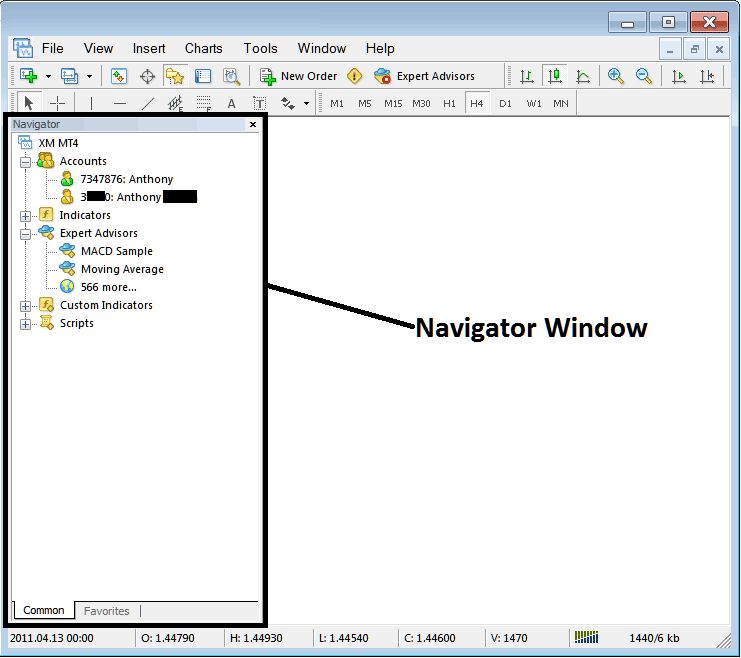 Accounts, Indicators and EAs on MetaTrader 4 Navigator Window