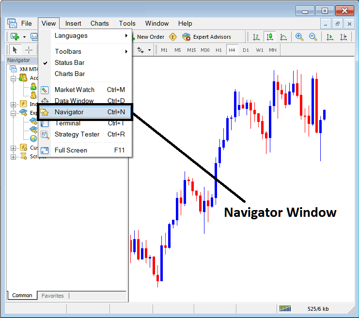 MetaTrader 4 Navigator Window on MT4 Platform Software