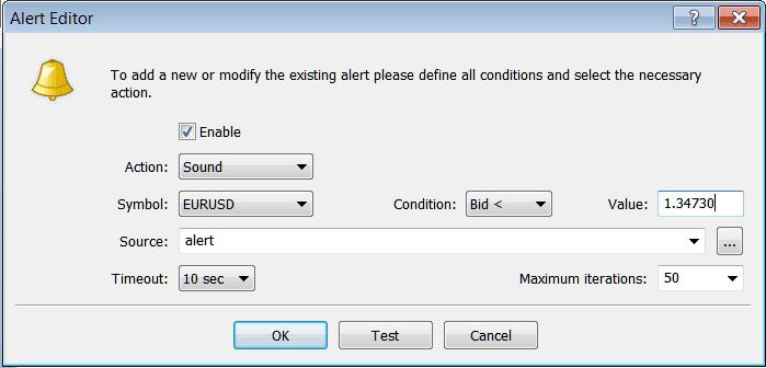 MetaTrader 4 Window For Setting Trading Alerts on MetaTrader 4 Terminal Window