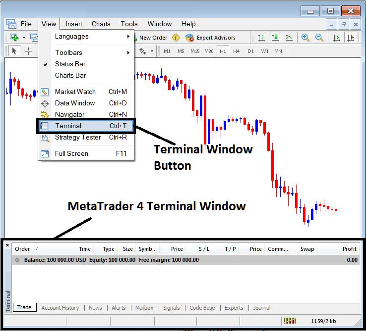 MetaTrader 4 Terminal Window and Terminal Button View Menu