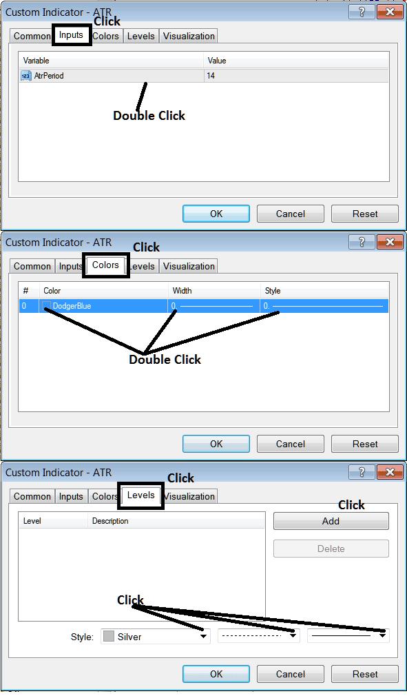 Edit Properties Window For Editing Average True Range Indicator Settings