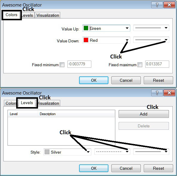 Edit Properties Window For Editing Awesome Oscillator Stock Index Trading Indicator Settings
