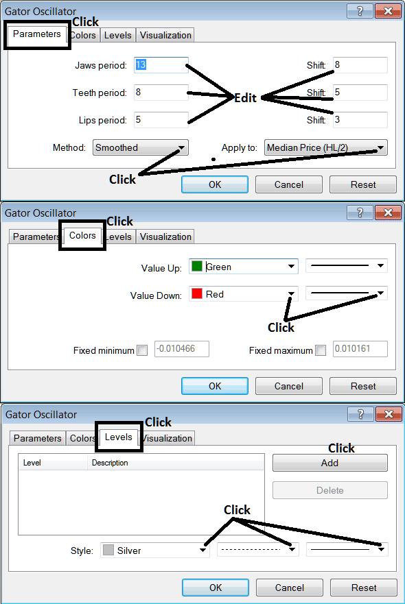 Edit Properties Window For Editing Gator Oscillator Indices Technical Indicator Settings