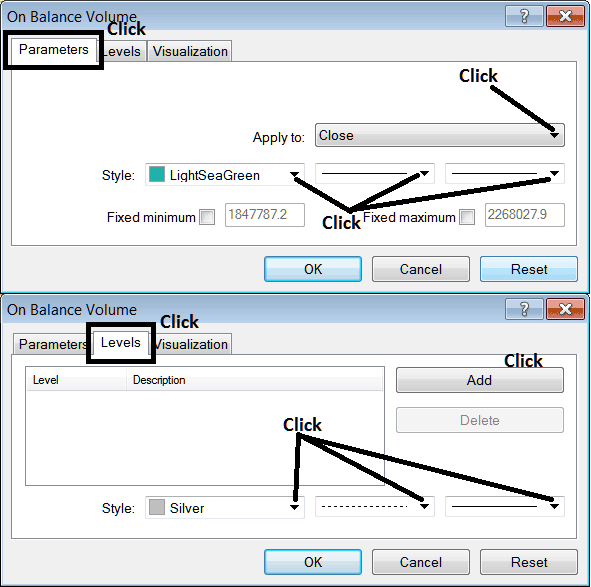 Edit Properties Window For Editing On Balance Volume Indicator Settings - Indices Trend Reversal Indicator